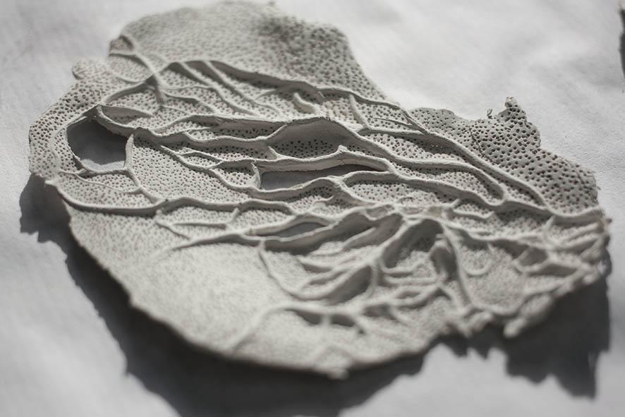 Textura de puntos sobre porcelana, es como hacer tramas en grabado.