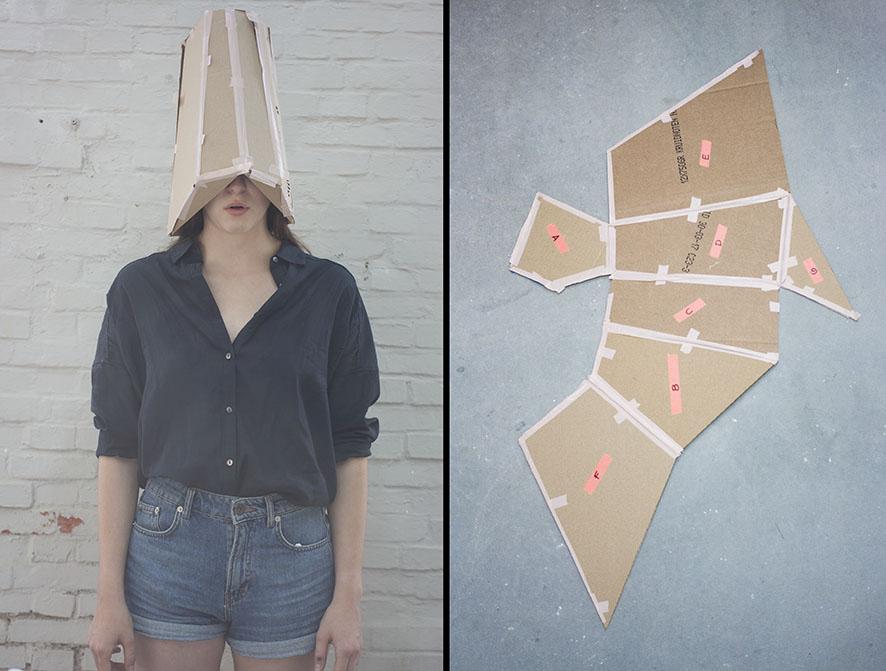 Maqueta en cartón para un posible tocado en la cabeza.