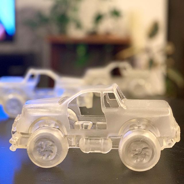 @caseybear23 for the sweet pic. Early engineering for a large glass sculpture #prototype #3d #print #clear #formlabs #truck #large #glass #car #sculpture #digital #fabrication #zbrush #garden