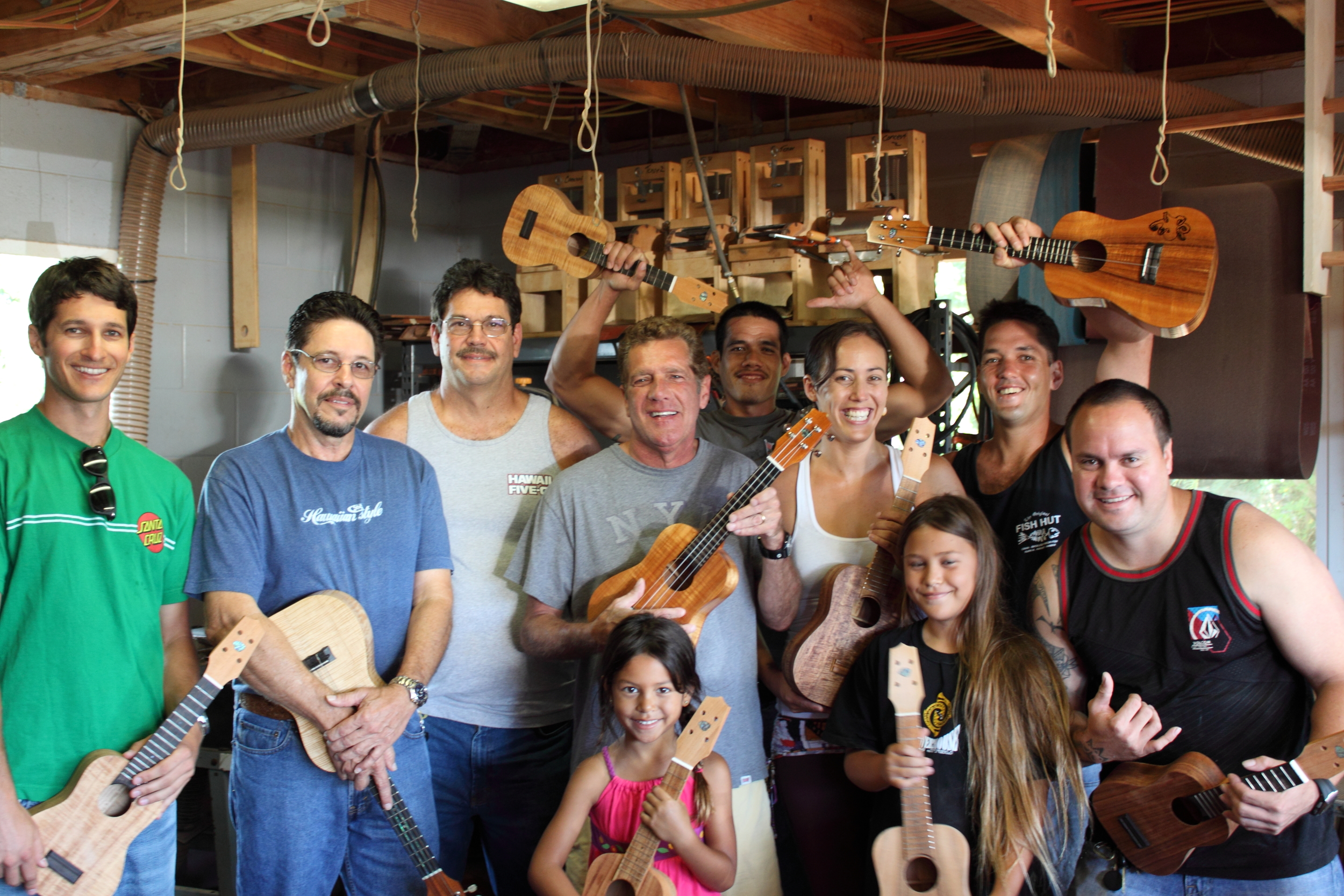 From left to right Tobby, Steve Rapozo, Raymond Rapozo, Glenn Frey, Tobys Daughter, Sarah Rapozo, Seychelle Rapozo, Lucas, James Langtad, Alika Youn.