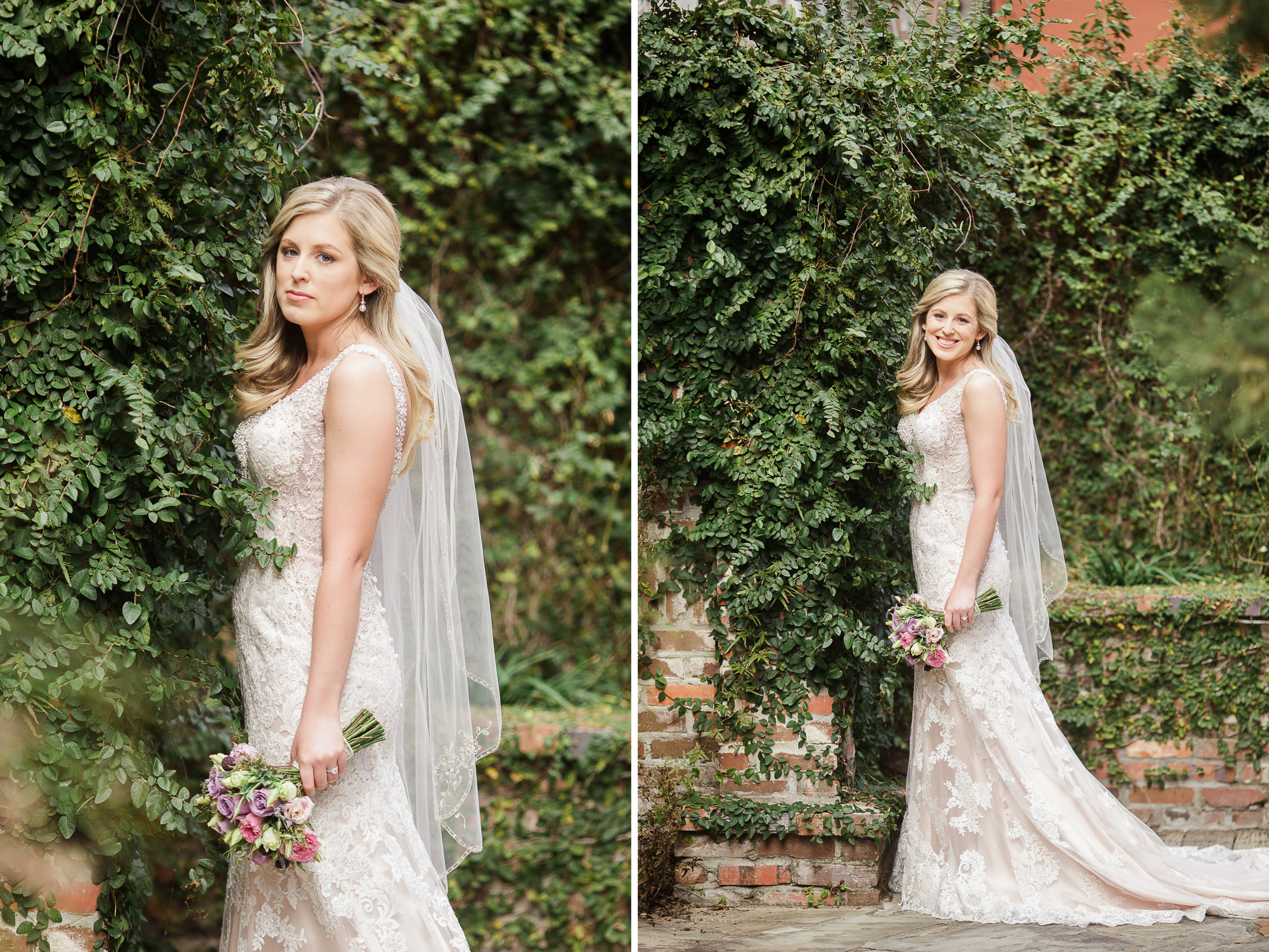 I just love how dreamy this spot is with her lace dress and all that ivy!
