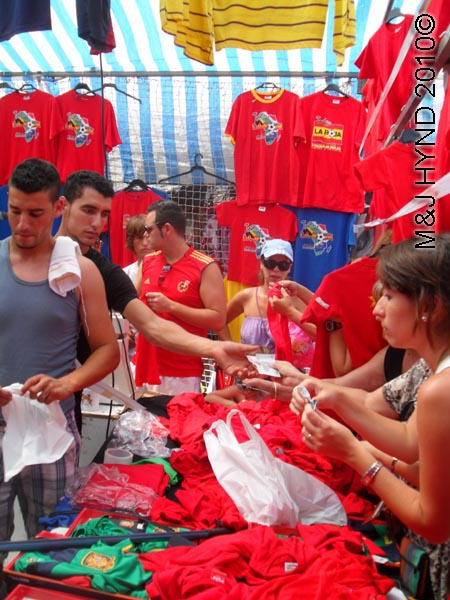 spain Santa Pola Saturday Market buy Spanish footbal colours caps Tshirts