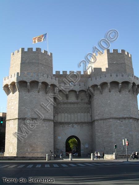 spain Valencia Torre de Serranos, gothic-style Serranos Gate or Serranos Towers, ancient city-walls, best preserved monument