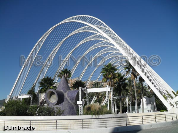spain Valencia City of Arts and Sciences, L'Umbracle, blue mosaic sculptures, museum