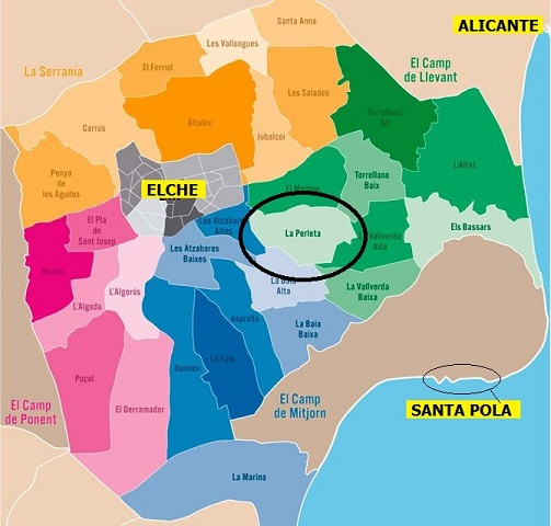 Elche, Spain: map of rural areas within elche's administrative domain