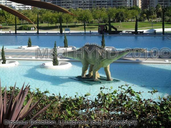 spain Valencia City of Arts and Sciences, dinosaur exhibition, walk through pools, science museum