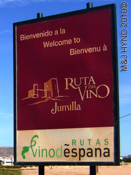 spain Jumilla, Murcia, wine route welcome signpost
