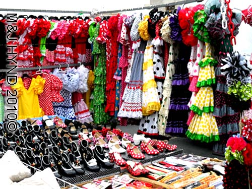 santa pola market dresses+shoes: spain santa Pola Saturday market colourful flamenco dresses cute little shoes to match