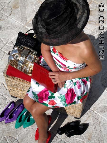spain perleta home patio outfit dress, shoes, clutch handbags, dressy hat