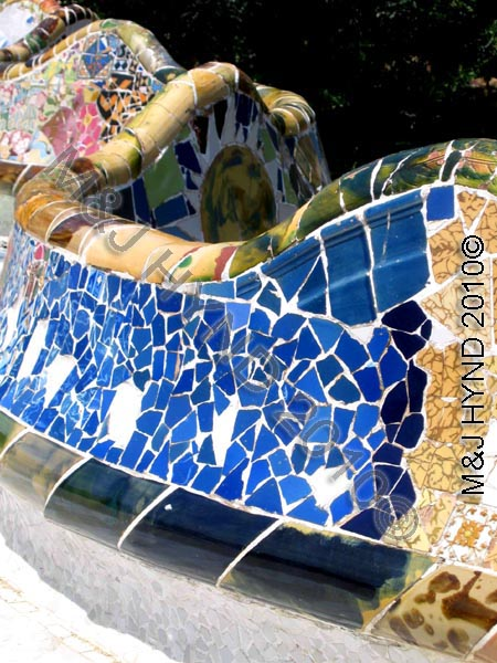 barcelona park guell: Spain Antonio Gaudi's Park Guell, Barcelona, innovative crazy tiling, colourful mosaics, creative artistic benches, World Heritage Site, works of art