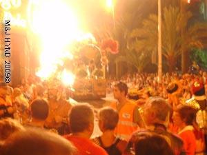 pyrotechnics: spain Santa Pola Palmeral Park Moors Christians fiesta, festival procession, dazzling colour, pyrotechnics, religious floats, spectators galore