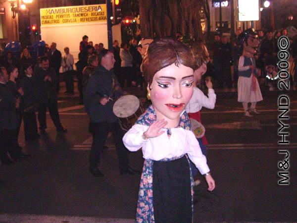 big head1: Spain Alicante, Los Reyes Magos Three Kings' Fiesta Spanish Epiphany Christmas season, big heads, marching band, holiday street parade, dancing giants, Gigante