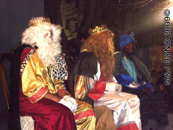 3 kings #1: Spain Alicante, Los Reyes Magos Three Kings' Fiesta Spanish Epiphany Christmas season, three Kings on dais, Spanish Christmas tradition