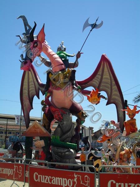 dragon : Spain Alicante Fiesta Hogueras de San Juan Bonfires of Saint John giant wooden papier-mache Neptune dragon sculpture statue Fallas display summer solstice plaza squares