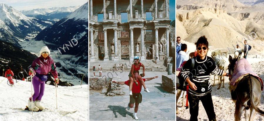 skiing st.anton austria; Ephesus Ruins, Kusadasi, Turkey; riding donkeys in the valley of the kings, Luxor, egypt