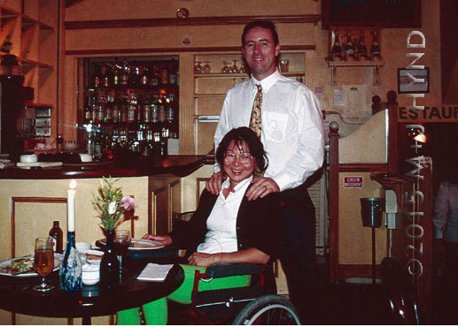1995 London , after 8 weeks in the hospital, allowed out for my first restaurant dinner... the wheelchair stayed with me for 6 years
