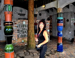 Kawakawa Toilets, Frederick HundertWasser, grass roof, gold balls, ceramic tiles, bottle glass windows, mosaic tiling, copper handwork, cobblestone flooring, sculptures, living tree