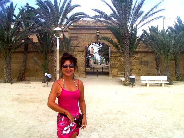 Spain isla Tabarca  marine nature reserve , old walled town date palm trees