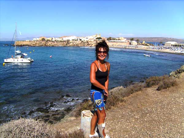 Spain isla Tabarca  marine nature reserve yacht cruisers main beach and holiday town