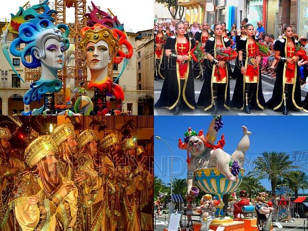 spain fiestas, Costa Blanca festivals Elche Moors & Christians stunning parades Alicante hogueras Bonfires giant statues
