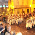 spain elche entrance of Moors and Christians Fiesta Festival, parades, marches in front of Ayuntamiento Townhall Elche