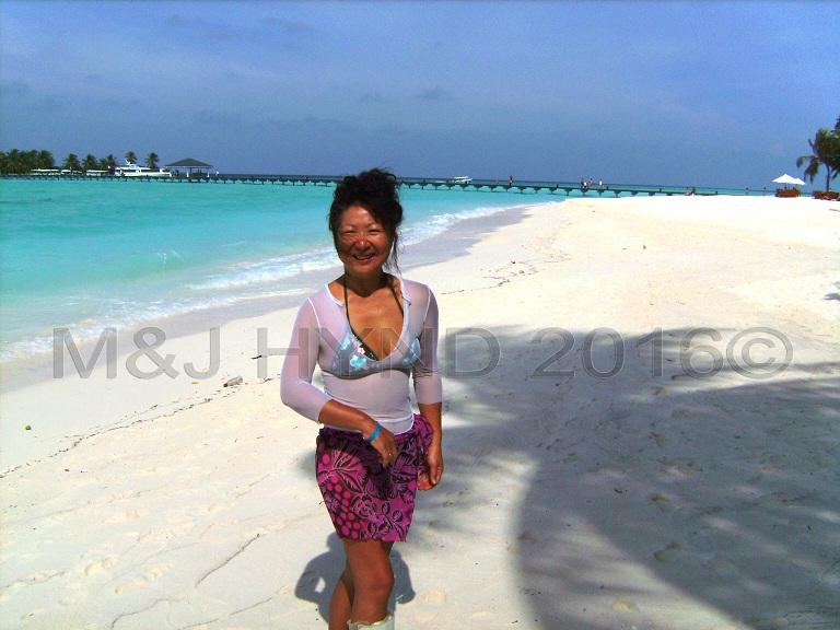 beachscape, bridge linking jetty, Sun Island, Maldives
