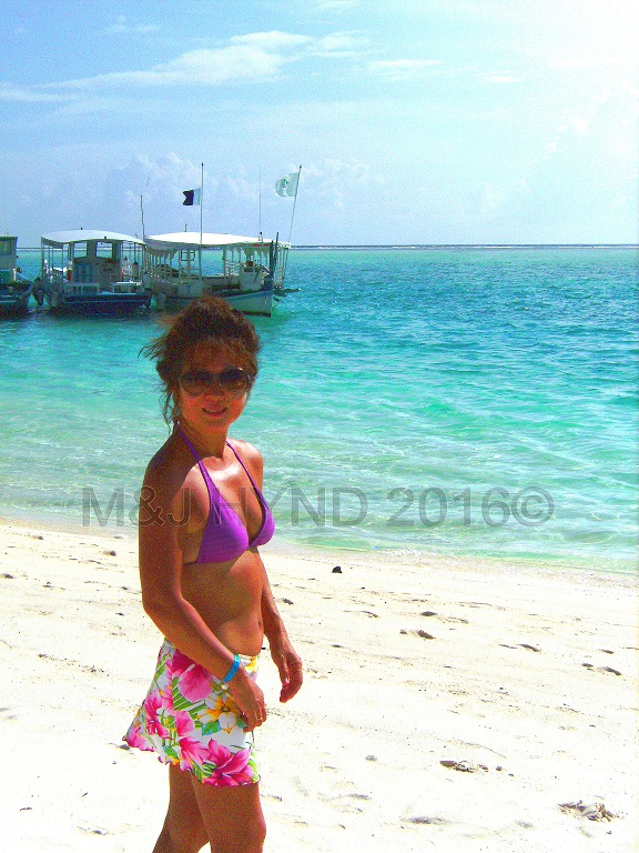 beachscape with dhonis at the jetty, Sun Island, Maldives
