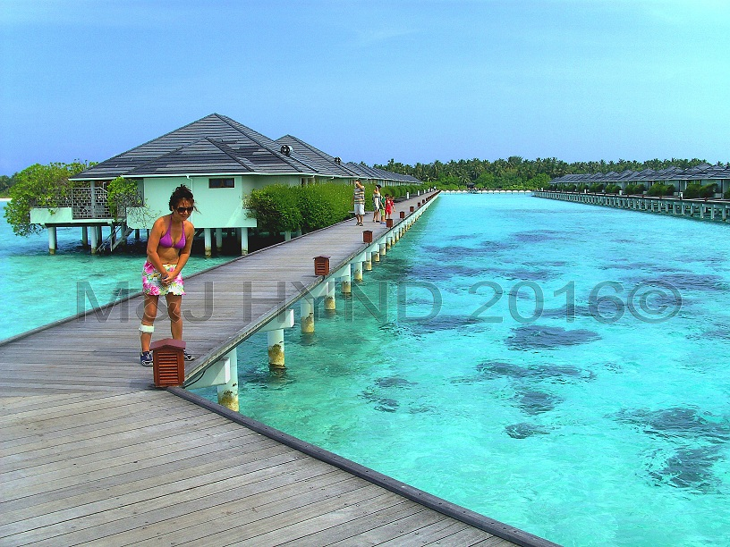 walkway to water villas, Sun Island, Maldives