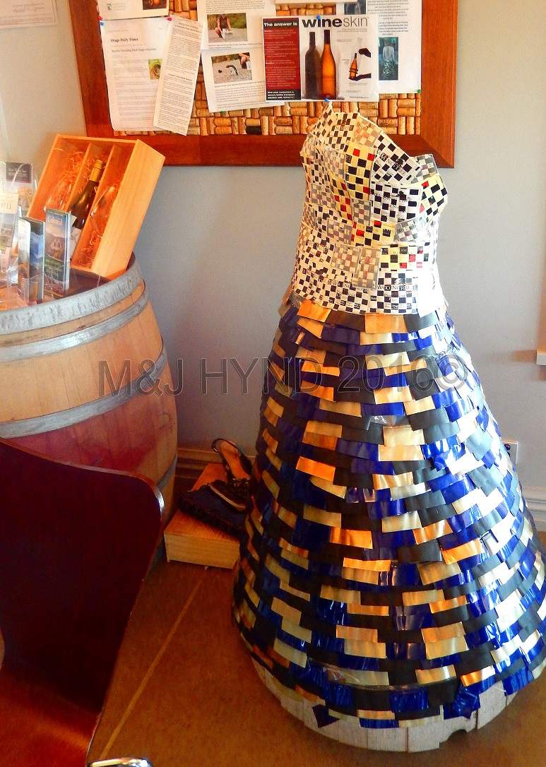 ball gown made of wine bottle foil labels, Wooing Tree Winery, NZ