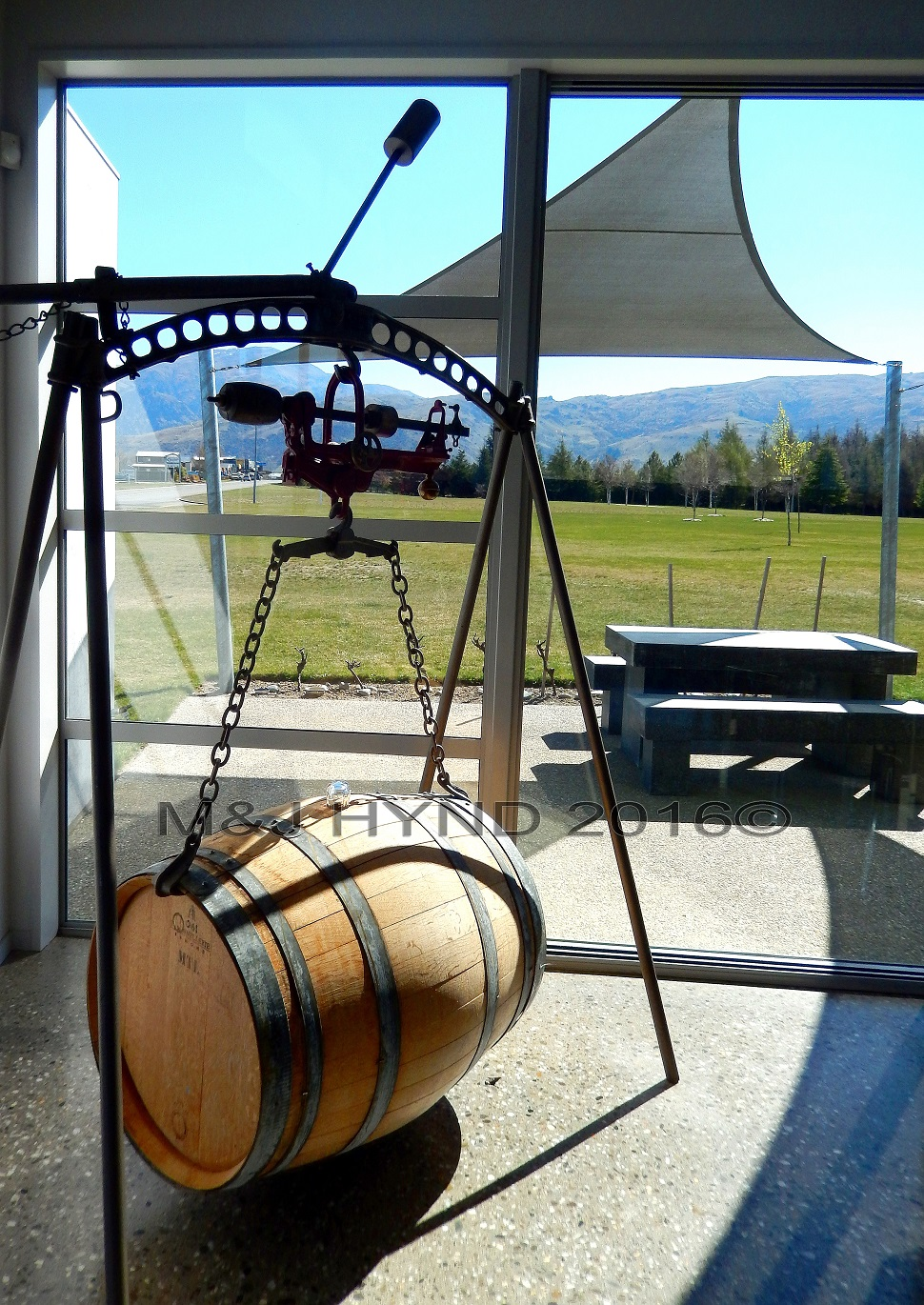 Rockburn Winery swinging barrel, Cromwell, Central Otago, NZ