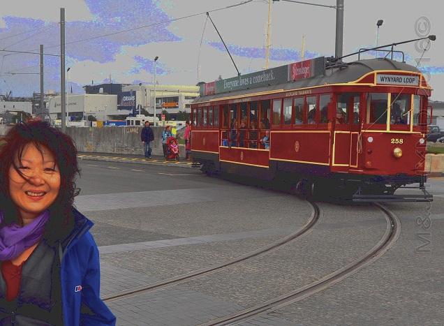 Wynyard Quarter historic tram, Auckland, NZ