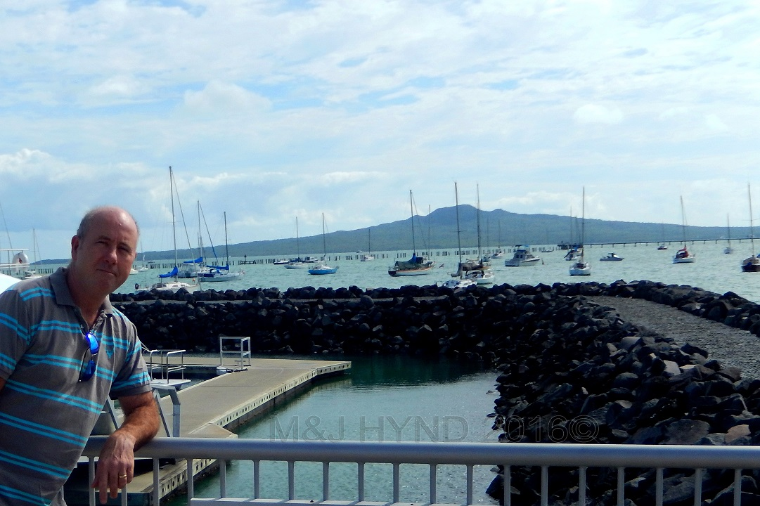Okahu Bay marina with Rangitoto, Auckland, NZ
