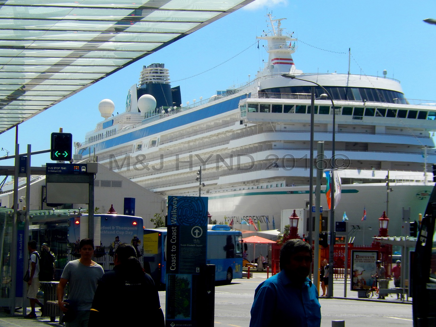 cruise liner docked at Queens Wharf, waterfront, Auckland, NZ