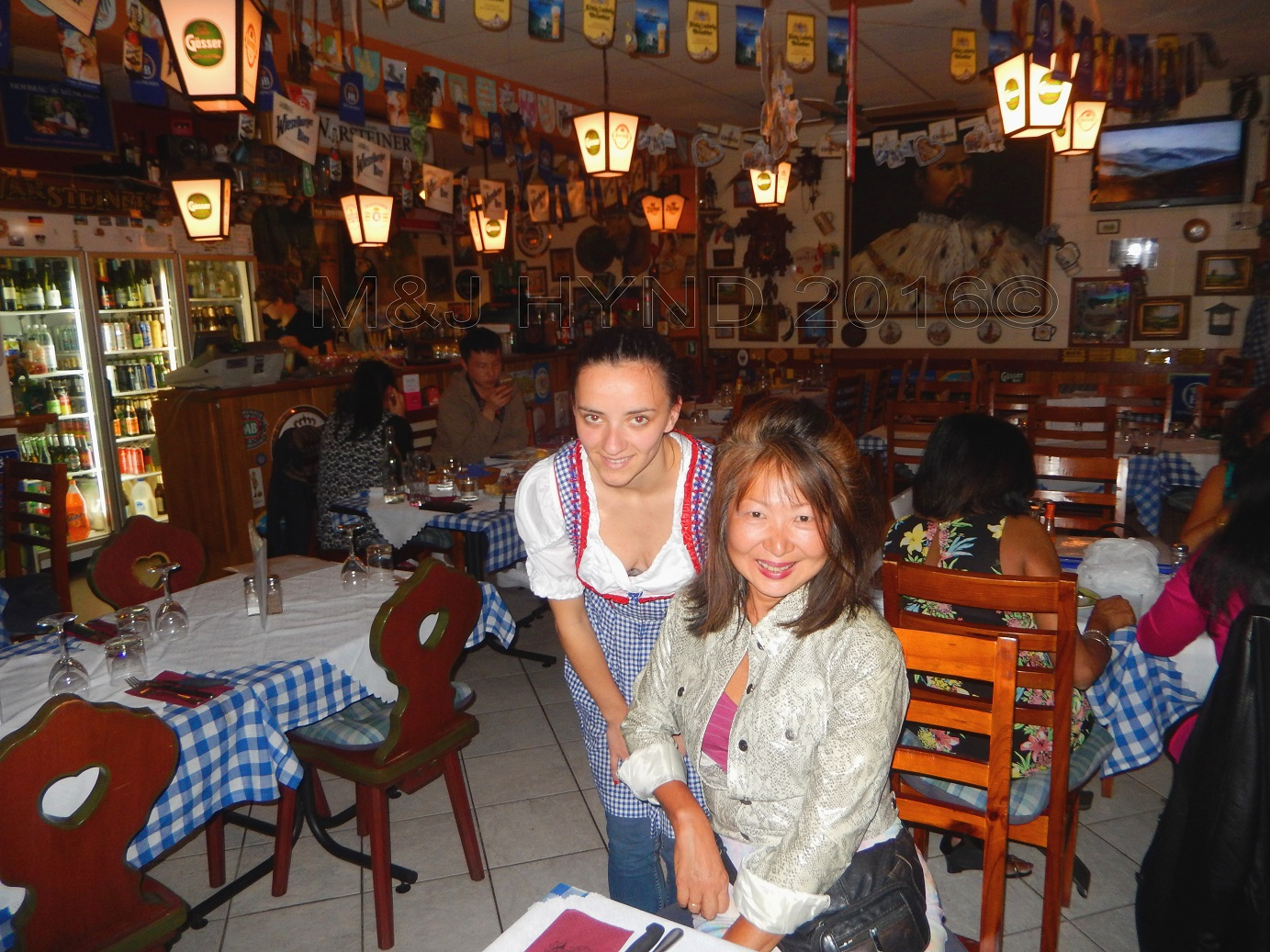 Der Metz restaurant  Hofbrauhaus decoration staff with dirndl, Auckland, NZ