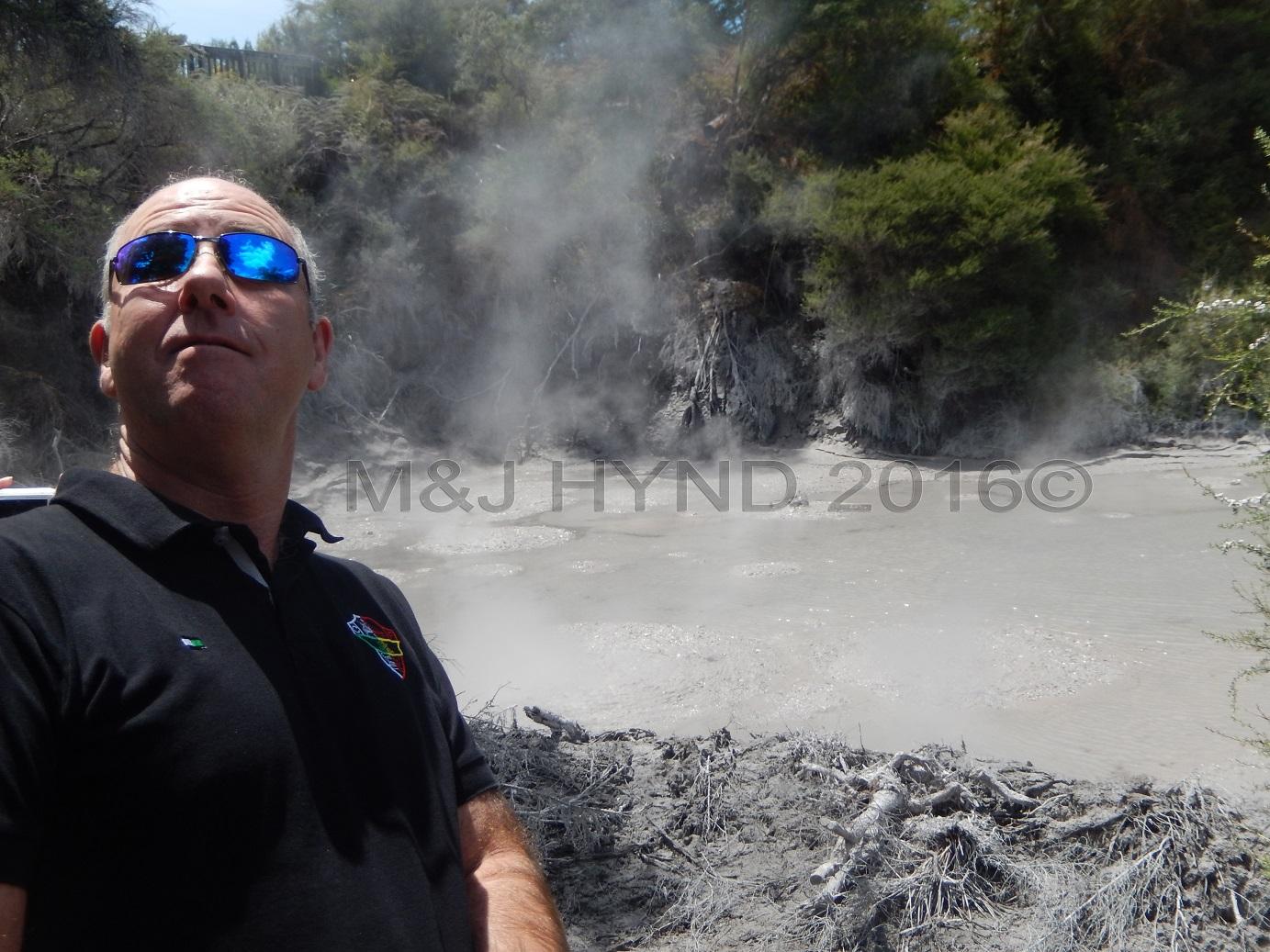 steam and smoke mud pools, Wai-o-tapu Thermal Wonderland, Rotorua, NZ