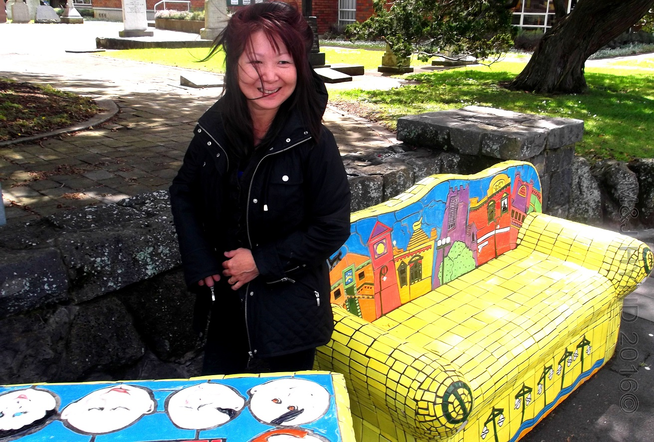 mosaic street furniture, Onehunga main street NZ