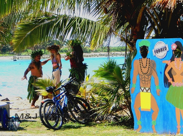shooting video at the lagoon, Muri, Rarotonga, Cook Islands