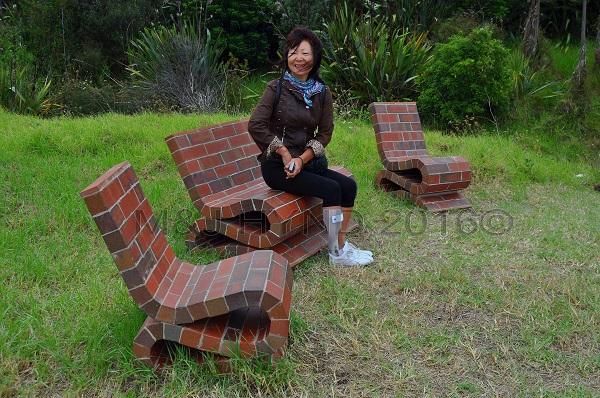 brick sundeck chairs, Sculpture On The Gulf, Waiheke Island, NZ