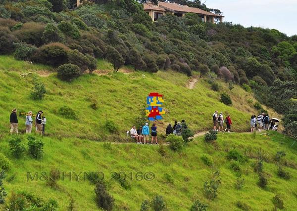 hilly sculpture trail, Sculpture On The Gulf, Waiheke Island, NZ