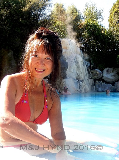 hot pool and waterfall, Wairekei Terraces, Geothermal Valley, Taupo, NZ