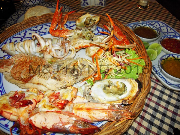 seafood platter with squid and langoustines, Koh Samui, Thailand