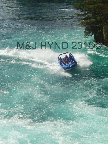 Huka Falls jetboat in action, Taupo, NZ