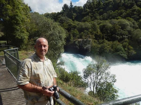 Huka Falls turbulent water, Taupo, NZ