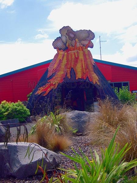 Volcanic Activity Centre corrugated iron sign, Taupo, NZ