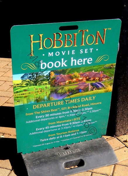 Hobbiton Tour sign, Matamata, Waikato, NZ