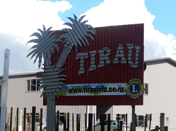 corrugated iron Tirau sign, Waikato, NZ