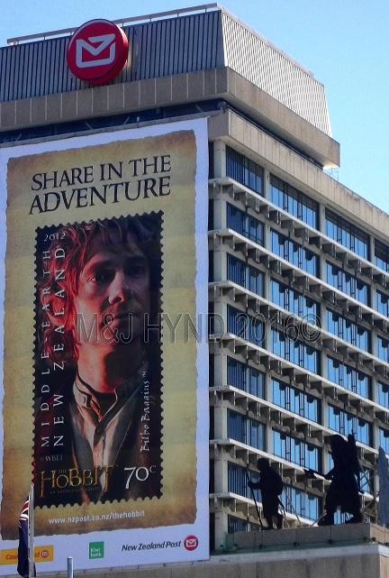 LOTR Martin Freeman giant stamp poster, Wellington, NZ