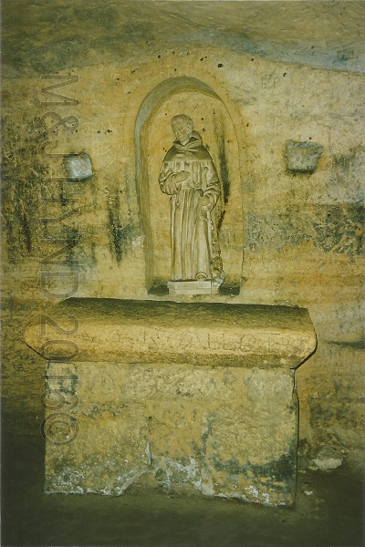statue of St Emilion in the cave, St. Emilion, Gironde, France