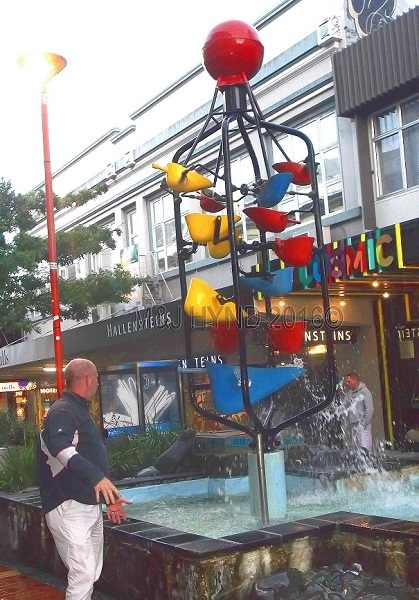 Cuba Street fountain, Wellington, NZ