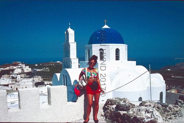 blue-dome Church of Agios Nikolaos, Pyrgos, Santorini, Greece